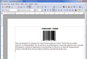Barcode in OO Writer