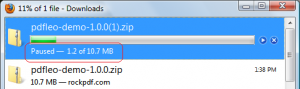 Resumable download in Firefox